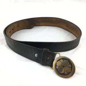 Vintage leather belt flower brass buckle round 34